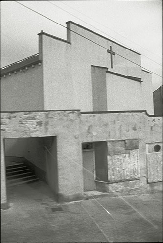 disused church, seen from top deck of bus, huddersfield, march 2000, photograph by photographer julian flynn